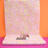 Vintage 1960s Floral, Light Weight Wallpaper - Pink / Green