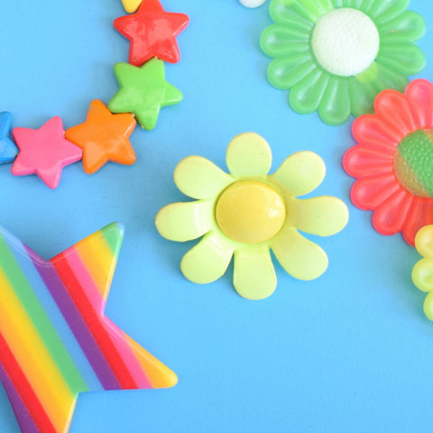 Vintage 1990s Fun Plastic Jewellery - Rainbows / Flower Power