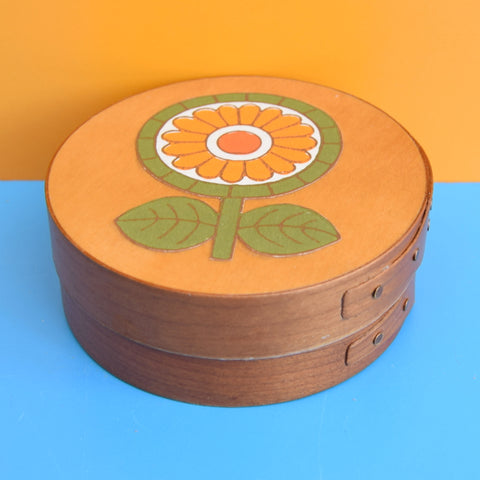 Vintage 1970s Small Steamed Wooden Box - Flower Power