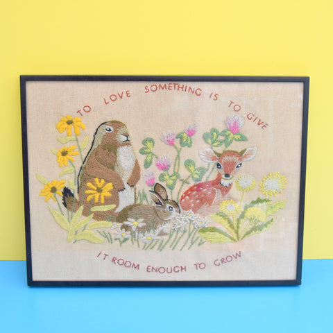 Vintage 1970s Embroidered Picture - To Love Something