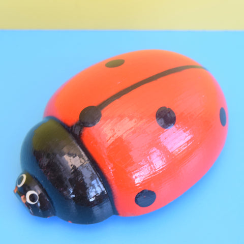 Vintage 1970s Wooden Ladybird On Wheels