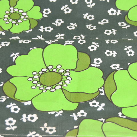 Vintage 1960s Replacement Garden Chair Cover - Green Flower Power