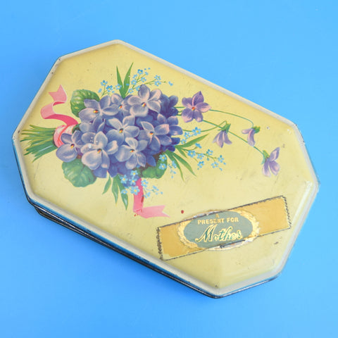 Vintage 1950s Bluebird Toffee Tin - Mothers Day Violets