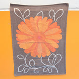 Vintage 1970s Flower Power Tea Towel - Orange & Brown