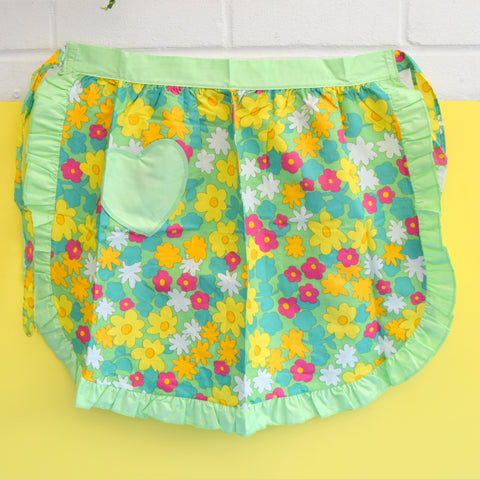 Vintage 1960s Frilled Flower Power Half Apron -Yellow, Pink & Green