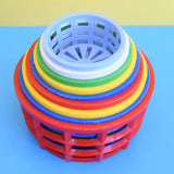 Vintage 1960s Plastic Stacking Cups/ Baskets - Bright Colours