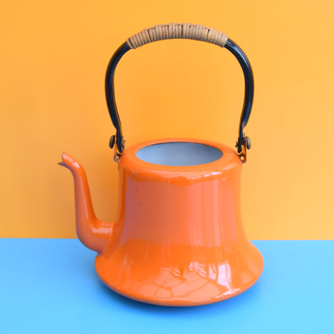 Vintage 1960s Lidless Enamel Tea Pot / Kettle - Plant ? - Orange