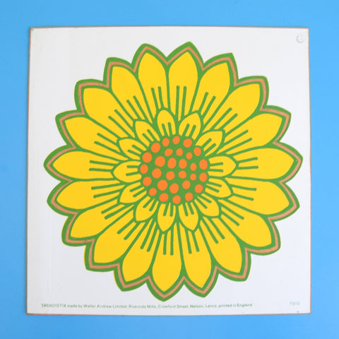 Vintage 1970s Sticker - Jan Pienkowski - Flower - Yellow