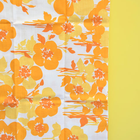 Vintage 1960s Unused Pillow Case - Flower Power - Orange / Yellow
