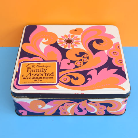 Vintage 1970s Cadbury's Tin - Pink & Purple - Flower Power