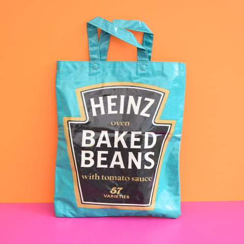 Vintage 1970s Vinyl Small Shopping / Book Bag - Heinz Baked Beans