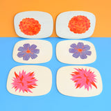 Vintage 1970s Worcester Ware Placemat Set of 6 - Flower Power