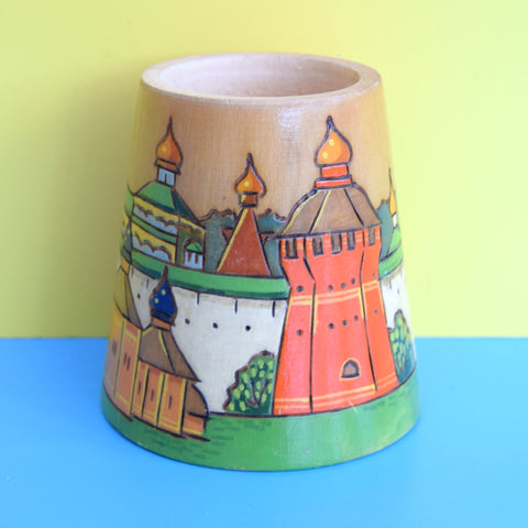 Vintage 1960s Wooden Russian Pencil Pot