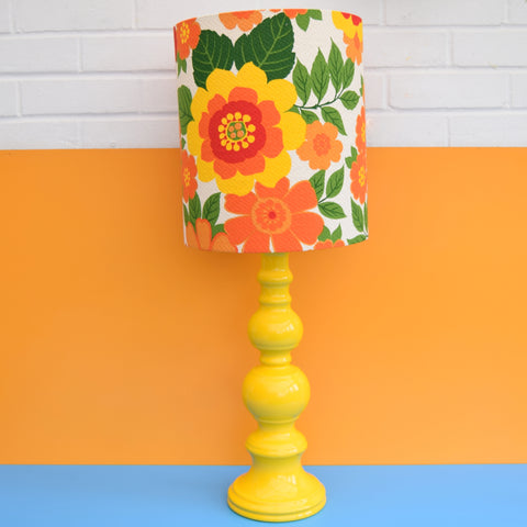 Vintage 1960s Table Lamp - Flower Power Orange & Yellow