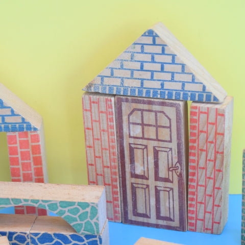Vintage 1960s Mixed Wooden Building Blocks