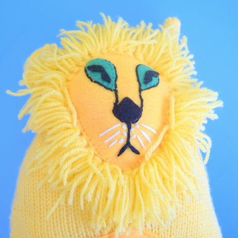 Vintage 1970s Knitted Fed Up Lion - Handmade - Yellow