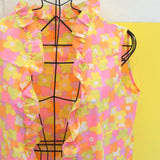Vintage 1960s Open Shirt / Beach Cover Up - Flower Power