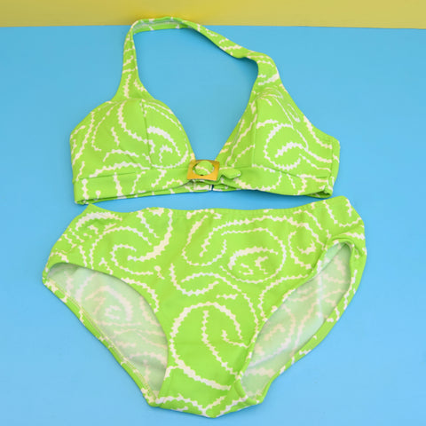 Vintage 1970s Halterneck Bikini - Geometric - Green & White Uk 12-14