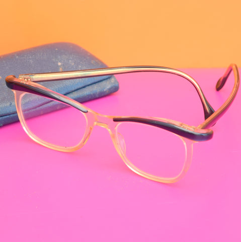 Vintage 1950s Cats Eye Reading Glasses & Case - Blue