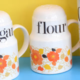 Vintage 1960s Crown Devon Ceramic Jars - Flower Power - Coffee / Sugar - Wooden Lids