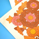 Vintage 1960s Linen/ Cotton Table Cloth - Flower Power - Pink & Orange
