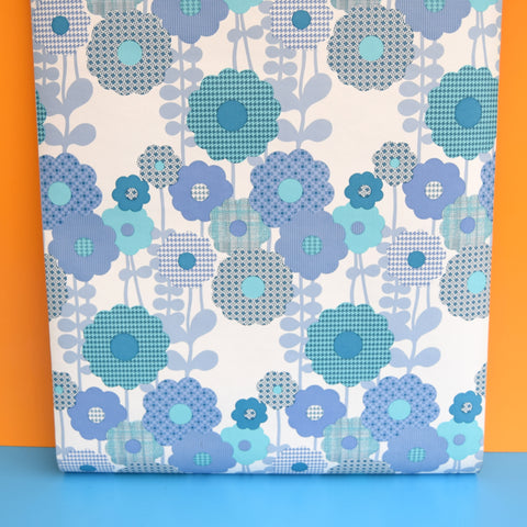 Vintage 1960s Vinyl Wallpaper - Blue Geo Flowers