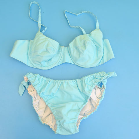 Vintage 1960s Bikini - Turquoise Blue - Uk 12-14 - Unused