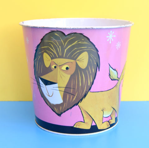 Vintage 1960s Metal Waste Paper Bin - Disney ? - Lion & Tiger
