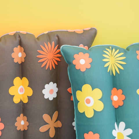 Vintage 1960s Vinyl Inflatable Pillow - Ideal Beach Use - Flower Power
