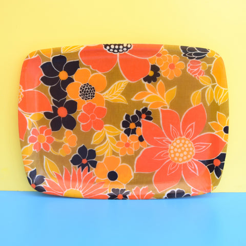 Vintage 1960s Flower Power Fibreglass Tray - Orange & Black