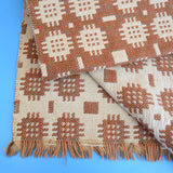 Vintage 1960s Welsh Tapestry Rug - Brown / Cream