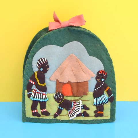 Vintage 1950s Felt Tea Pot Cover / Warmer - Tribal Imagery