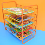 Vintage 1970s Wire Desk Filing / Vegetable Rack - Orange