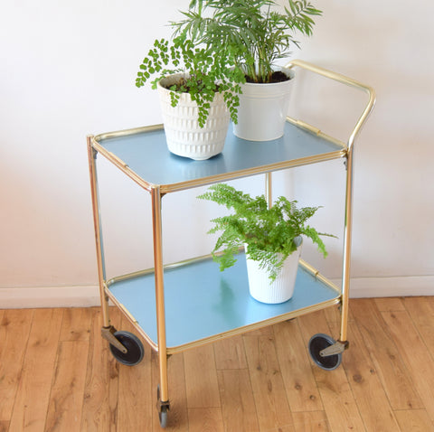 Vintage 1950s Folding Aluminium Drinks/ Plant / Display Trolley - Pale Blue .