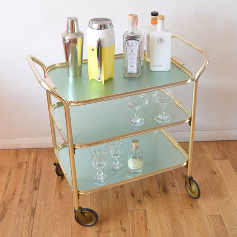 Vintage 1950s Folding Aluminium Drinks/ Plant / Display Trolley - Pale Green
