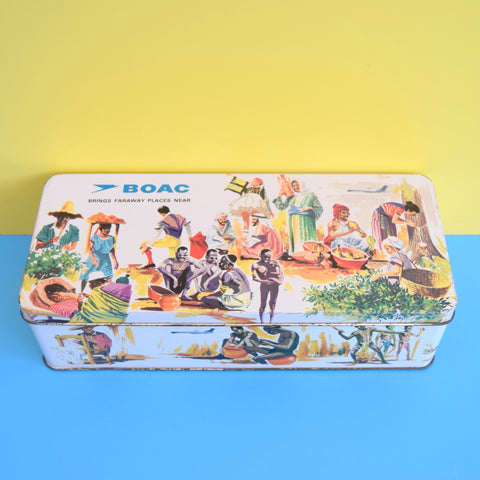 Vintage 1960s BOAC Tin - Brings Faraway Places Near