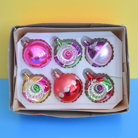 Vintage Mixed 1950s Small Glass Christmas Baubles - Boxed