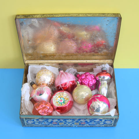 Vintage 1950s Mixed Small Glass Christmas Baubles - Pink