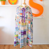 Vintage 1950s Fabric Patchwork Hooded Cape - Amazing!