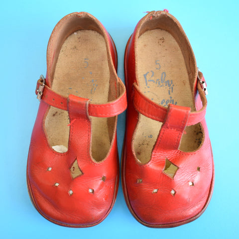 Vintage 1950s Baby Deer Baby First Shoes (Baby) - Leather Red Mary Janes Size 5