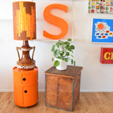 Vintage 1960s West German Lamp & Shade - Orange & Brown