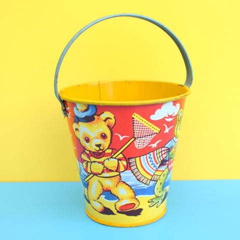 Vintage 1960s Children's Tin Bucket - Chad Valley - Animal Design
