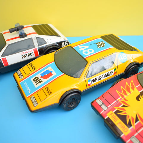 Vintage 1980s Large Friction Driven Tin Metal Cars - Various Designs