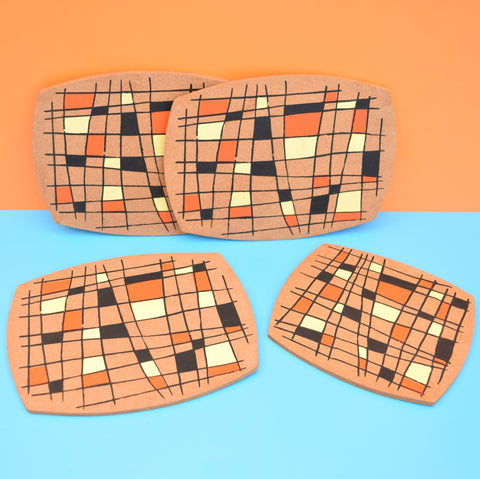 Vintage 1950s Cork Place Mats / Pan Stands x4 - Yellow, Orange, Black