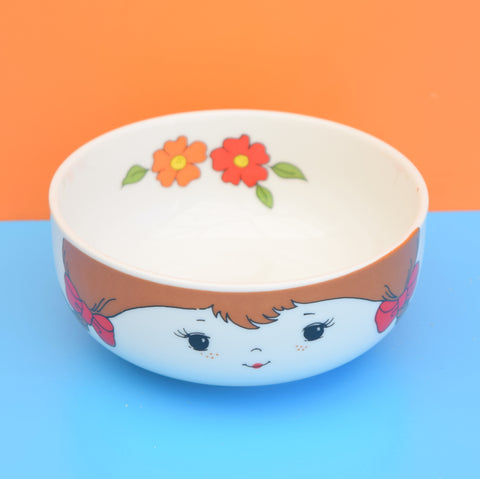Vintage 1960s Cereal Bowl - Little Girl & Flower Power