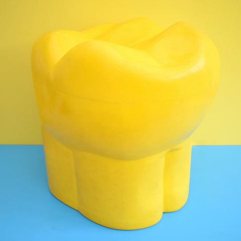 Vintage Tooth Shaped Stool - Ex Dentist - Plastic - Red Or Yellow