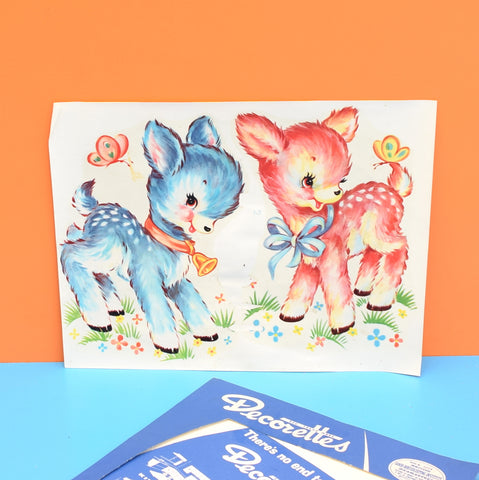 Vintage 1960s Kitsch Transfers - Bambi / Lamb Designs- Blue or Pink