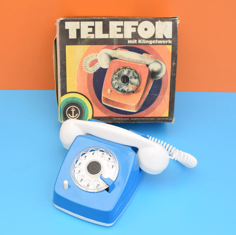Vintage 1970s Boxed Toy Telephone - With Ringer - German - Blue