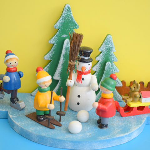 Vintage 1970s Wooden Christmas Candle Holder Decorations - Ski / Snowman