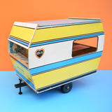Vintage 1970s Sindy Doll Caravan - Blue & Yellow